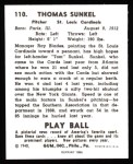 1940 Play Ball Reprint #110  Tom Sunkel  Back Thumbnail