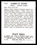 1940 Play Ball Reprint #117  Dolly Stark  Back Thumbnail