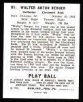 1940 Play Ball Reprint #81  Wally Berger  Back Thumbnail