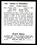 1940 Play Ball Reprint #146  Tot Pressnell  Back Thumbnail