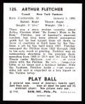 1940 Play Ball Reprint #125  Art Fletcher  Back Thumbnail