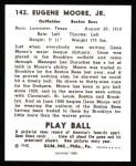 1940 Play Ball Reprint #143  Gene Moore  Back Thumbnail