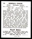 1940 Play Ball Reprint #19  Ken Chase  Back Thumbnail