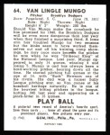 1940 Play Ball Reprint #64  Van Mungo  Back Thumbnail