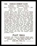 1940 Play Ball Reprint #102  Chuck Klein  Back Thumbnail