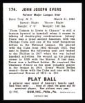 1940 Play Ball Reprint #174  Johnny Evers  Back Thumbnail
