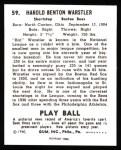 1940 Play Ball Reprint #59  Rabbit Wartstler  Back Thumbnail