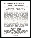 1940 Play Ball Reprint #92  John Whitehead  Back Thumbnail