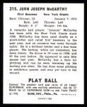 1940 Play Ball Reprint #215  Johnny McCarthy  Back Thumbnail