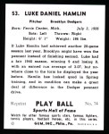 1941 Play Ball Reprint #53  Luke Hamlin  Back Thumbnail