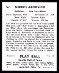 1941 Play Ball Reprint #57  Morrie Arnovich  Back Thumbnail