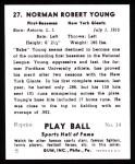 1941 Play Ball Reprint #27  Babe Young  Back Thumbnail