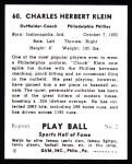 1941 Play Ball Reprints #60  Chuck Klein  Back Thumbnail