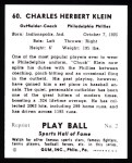 1941 Play Ball Reprint #60  Chuck Klein  Back Thumbnail
