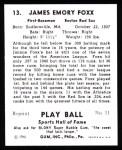 1941 Play Ball Reprint #13  Jimmie Foxx  Back Thumbnail