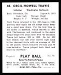 1941 Play Ball Reprint #48  Cecil Travis  Back Thumbnail
