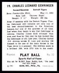 1941 Play Ball Reprint #19  Charlie Gehringer  Back Thumbnail