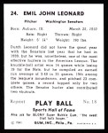 1941 Play Ball Reprint #24  Dutch Leonard  Back Thumbnail
