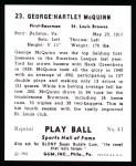 1941 Play Ball Reprint #23  George McQuinn  Back Thumbnail