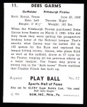 1941 Play Ball Reprint #11  Debs Gams  Back Thumbnail