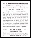 1941 Play Ball Reprint #62  Elbie Fletcher  Back Thumbnail