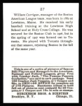 1915 Cracker Jack Reprint #27  Bill Carrigan  Back Thumbnail