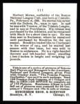 1915 Cracker Jack Reprint #111  Herbie Moran  Back Thumbnail