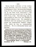 1915 Cracker Jack Reprint #160  Benny Kauff  Back Thumbnail