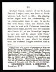 1915 Cracker Jack Reprint #25  Michael Simon  Back Thumbnail