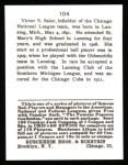 1915 Cracker Jack Reprint #104  Vic Saier  Back Thumbnail