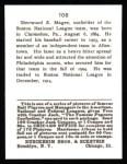 1915 Cracker Jack Reprint #108  Sherry Magee  Back Thumbnail