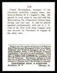 1915 Cracker Jack Reprint #106  Joe Birmingham  Back Thumbnail