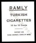 1909 T204 Ramly Reprint #59  John Hummel  Back Thumbnail