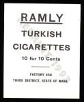1909 T204 Ramly Reprint #60  Walter Johnson  Back Thumbnail