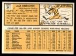 1963 Topps #341 ^COR^ Jack Baldschun  Back Thumbnail