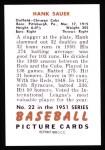 1951 Bowman Reprints #22  Hank Sauer  Back Thumbnail