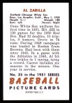 1951 Bowman Reprints #35  Al Zarilla  Back Thumbnail