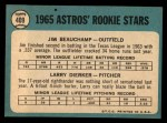 1965 Topps #409   -  Jim Beauchamp / Larry Dierker Astros Rookies Back Thumbnail