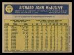 1970 O-Pee-Chee #475  Dick McAuliffe  Back Thumbnail