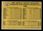 1970 O-Pee-Chee #310   1969 World Series - Summary - Mets Whoop it Up Back Thumbnail