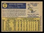 1970 O-Pee-Chee #58  Dave Marshall  Back Thumbnail
