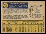 1970 O-Pee-Chee #341  Bill Sudakis  Back Thumbnail