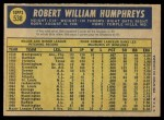 1970 O-Pee-Chee #538  Bob Humphreys  Back Thumbnail