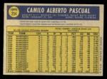 1970 O-Pee-Chee #254  Camilo Pascual  Back Thumbnail