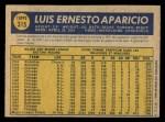 1970 O-Pee-Chee #315  Luis Aparicio  Back Thumbnail