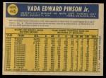 1970 O-Pee-Chee #445  Vada Pinson  Back Thumbnail
