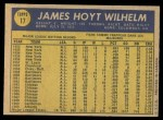 1970 O-Pee-Chee #17  Hoyt Wilhelm  Back Thumbnail