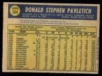 1970 O-Pee-Chee #504  Don Pavletich  Back Thumbnail