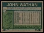 1977 Topps #218  John Wathan  Back Thumbnail