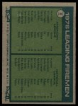 1977 Topps #8   -  Bill Campbell / Rawly Eastwick Leading Firemen Back Thumbnail